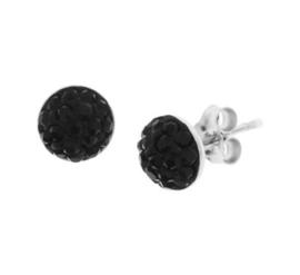Gerhodineerd zilveren strass oorknoppen zwart