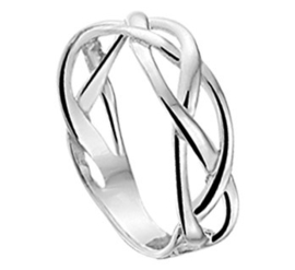 Gerhodineerd zilveren dames ring vlecht