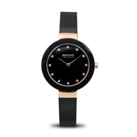 Bering horloge ceramic polished Rosé goud zwart 11429-166