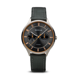 Bering horloge classic brushed grijs oranje 11539-879