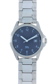 Tyno Werkhorloge zilver blauw 201-012 staal