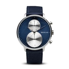 Bering horloge classic polished zilver blauw 13242-507