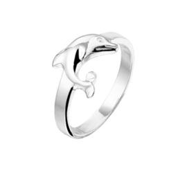 Zilveren meisjes ring Dolfijn