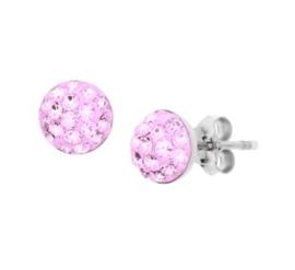 Gerhodineerd zilveren strass oorknopjes licht roze