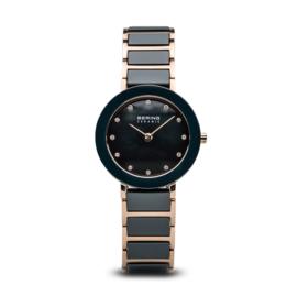 Bering horloge ceramic polished rosé goud blauw 11429-767