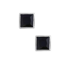 Gerhodineerde zilveren oorknopjes zirkonia zwart