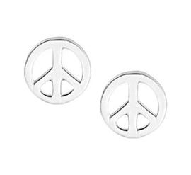Zilveren Peace teken oorbellen