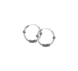 Zilveren Bali creolen/oorringen 18mm