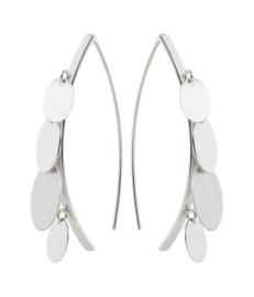 Gerhodineerd zilveren hook hang oorbellen mat glans
