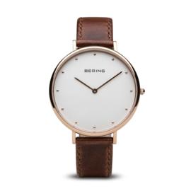 Bering horloge classic polished rosé goud bruin 14839-564