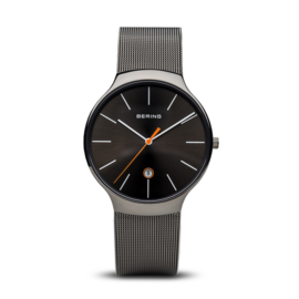 Bering horloge Classic polished grey black 13338-077