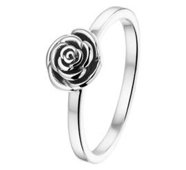 Zilveren dames ring met roos