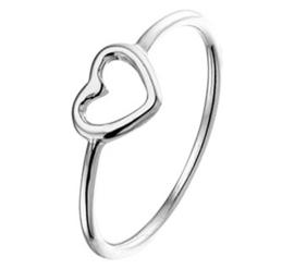 Gerhodineerd zilveren dames ring hartje open