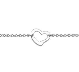 Dames Armband Hartje Gerhodineerd zilver