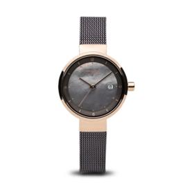 Bering horloge solar Rosé goud bruin 14426-265