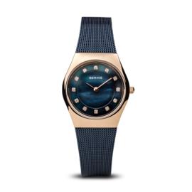 Bering horloge classic polished rosé goud blauw 11927-367