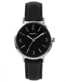Prisma Dames horloge slimline MRS. Zilver/Zwart P.1507