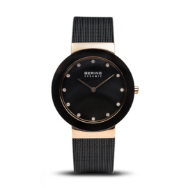 Bering horloge ceramic polished rosé goud zwart 11435-166