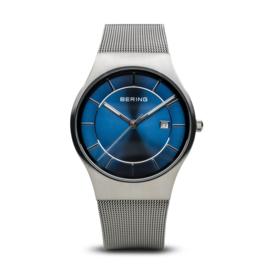 Bering horloge classic polished Zilver blauw 11938-003
