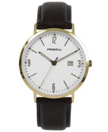 Prisma uniseks horloge  Slimline Mr. Goud/wit P.1503