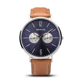 Bering horloge classic polished zilver blauw 14240-507