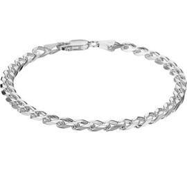 Zilveren armband geslepen gourmet 5mm