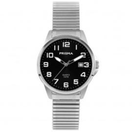 Prisma Heren horloge Classic steel rekband Zilver/Zwart P.1482