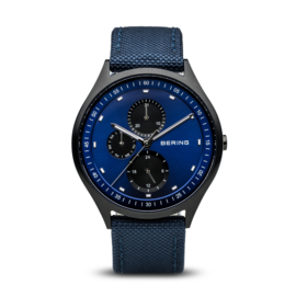 Bering horloge classic brushed titanium zwart blauw  11741-827