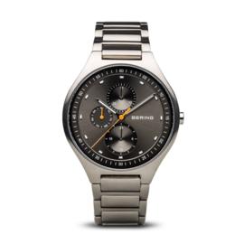 Bering horloge classic brushed Titanium Zwart oranje 11741-702