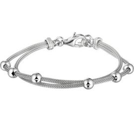 Zilveren armband bolletjes dubbel