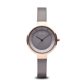 Bering horloge solar Rosé goud bruin 14631-369
