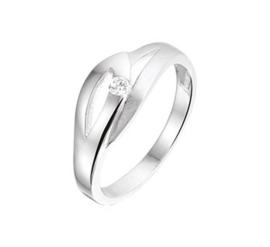 Zilveren ring mat en glanzend met zirkonia