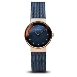 Bering horloge classic polished rosé goud Blauw 10126-367