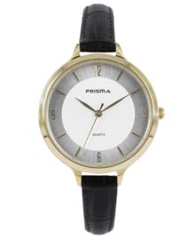 Prisma Dames horloge Devotion Leather Goud/wit P.8392