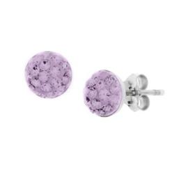 Gerhodineerd zilveren strass oorknoppen paars