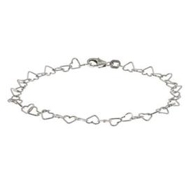 Gerhodineerde Zilveren hartje armband