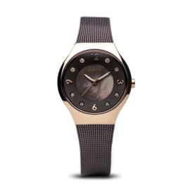 Bering horloge solar Roségoud bruin 14427-265