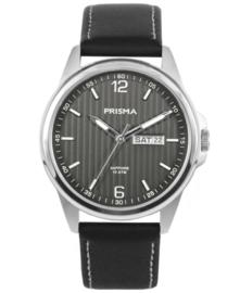 Prisma Heren Horloge Pattern Leather Zwart P.1662