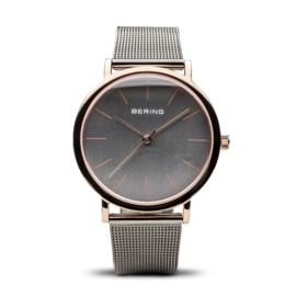 Bering horloge classic polished roségoud grijs 13436-369