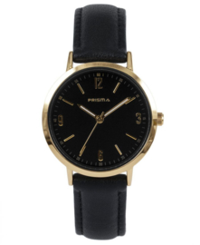 Prisma Dames horloge slimline MRS. Zwart/goud P.1509