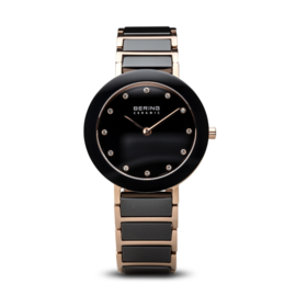 Bering horloge ceramic polished rosé goud zwart 11429-746
