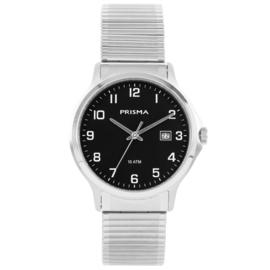Prisma Heren horloge All stainless steel rekband Zilver/zwart P.1702