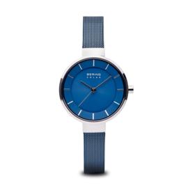 Bering horloge solar Zilver blauw 14631-307