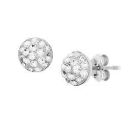Gerhodineerd zilveren strass oorknoppen wit