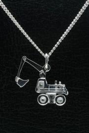 Zilveren hanger kraan/graafmachine