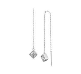Gerhodineerd zilveren doortrekoorbellen zirkonia vierkant