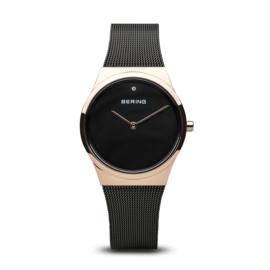 Bering horloge classic polished rosé goud zwart 12130-166