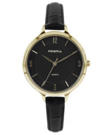 Prisma Dames Horloge Devotion Leather Goud/zwart P.8393