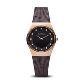 Bering horloge classic brushed rosé goud bruin