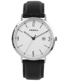 Prisma uniseks horloge Slimline Mr. Zilver/wit P.1501
